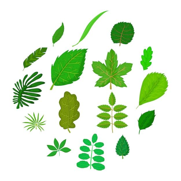 Grüne blattikonen eingestellt, karikaturart Premium Vektoren
