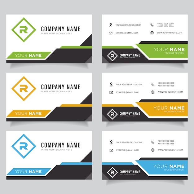 Grüne, blaue, orange und schwarze dunkle moderne kreative visitenkarte und visitenkarte Premium Vektoren
