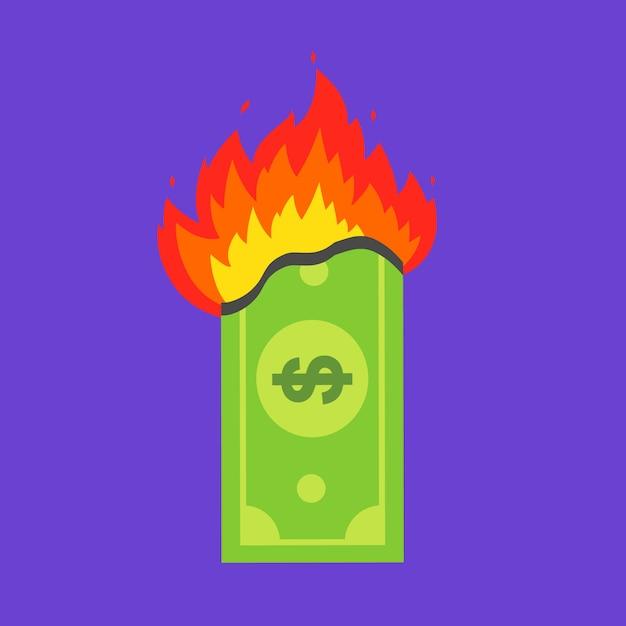 Grüne dollarnote brennt. finanzkrise. flache vektor-illustration. Premium Vektoren
