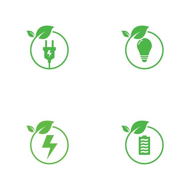 Grüne energie-logo-sammlung Premium Vektoren