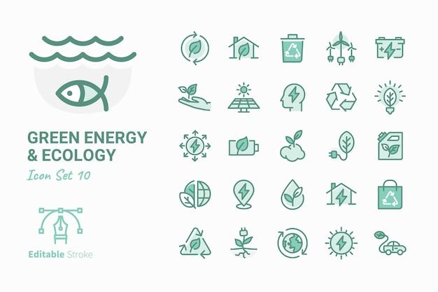 Grüne energie u. ökologievektor-ikonensammlung Premium Vektoren