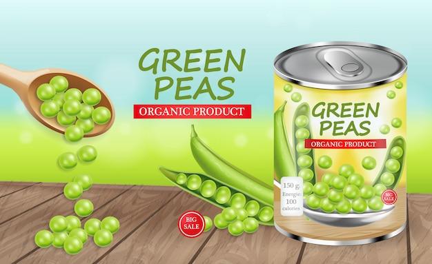 Grüne erbsen können paket entwerfen Premium Vektoren