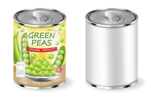 Grüne erbsen können verpacken Premium Vektoren