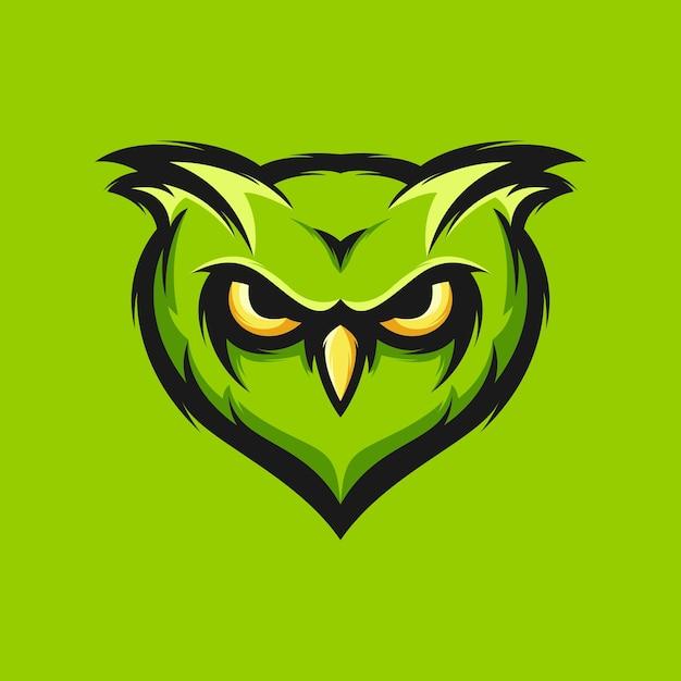 Grüne eulenkopfdesign-vektorillustration Premium Vektoren