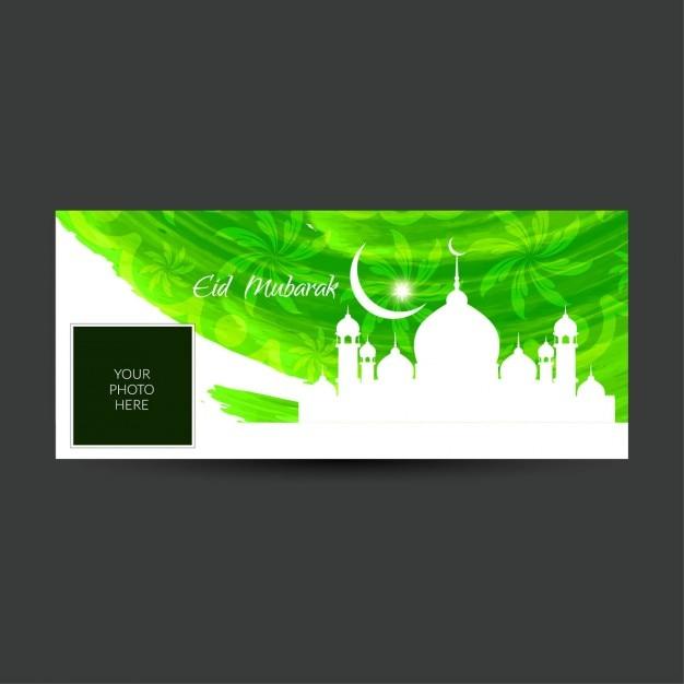 Grüne farbe eid mubarak facebook timeline abdeckung Kostenlosen Vektoren