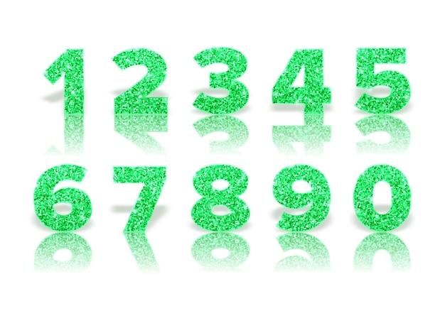 Grüne funkelnde zahlen mit reflexion und schatten Premium Vektoren