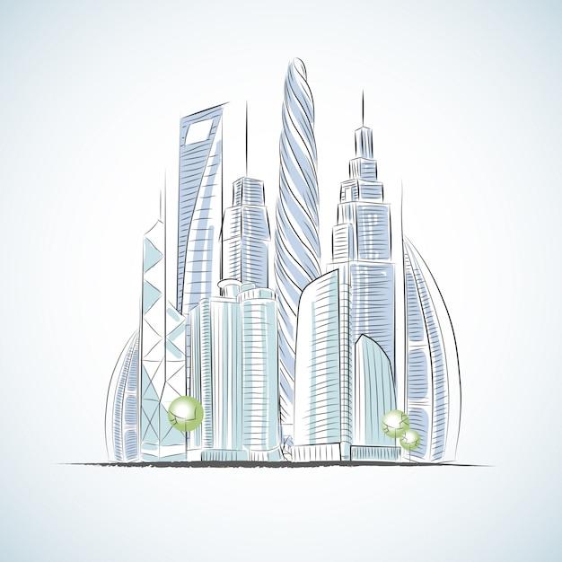 Grüne gebäudeikonen eco von wolkenkratzern lokalisierten skizze v Kostenlosen Vektoren