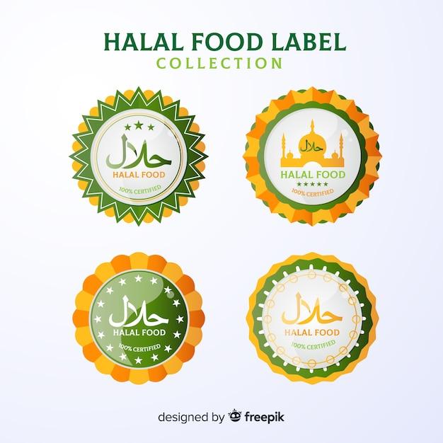 Grüne halal etikettenkollektion mit flachem design Kostenlosen Vektoren