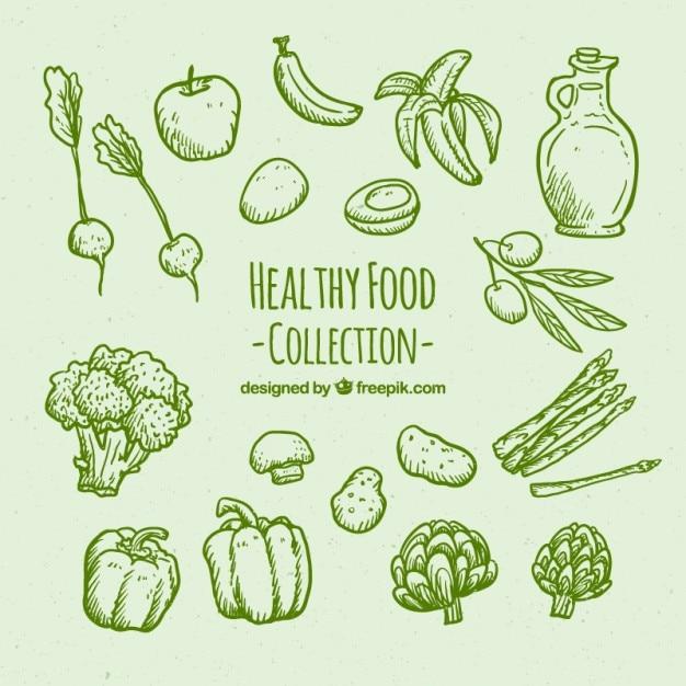 Grüne hand gesunde lebensmittel satz gezeichnet Kostenlosen Vektoren