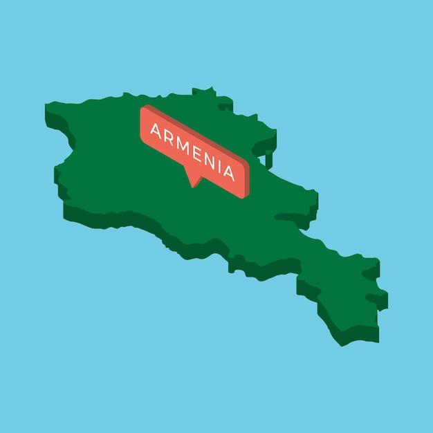 Grüne isometrische karte des landes armenien mit zeiger auf blau Premium Vektoren