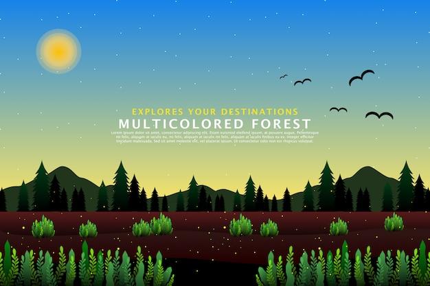 Grüne kiefernwaldlandschaftsschablone Premium Vektoren