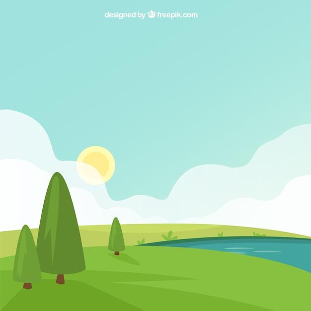 Grüne landschaft hintergrund mit bäumen und fluss Kostenlosen Vektoren
