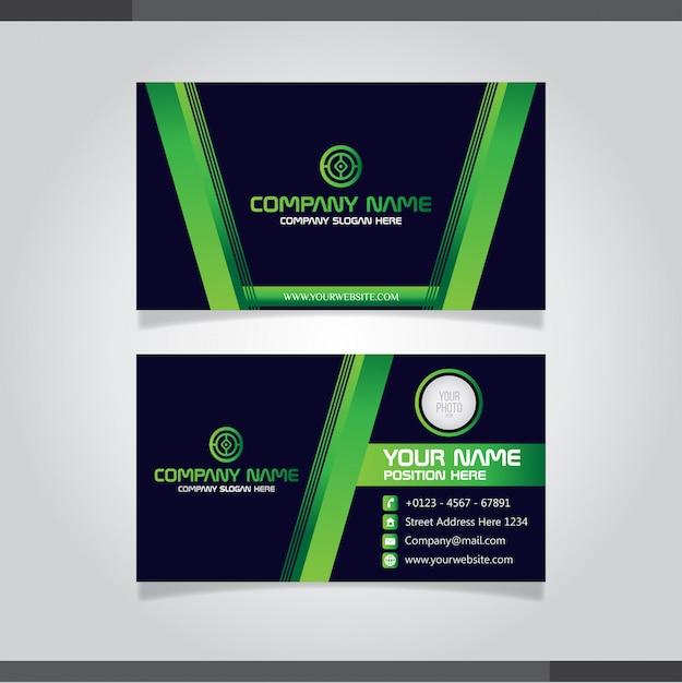 Grüne moderne kreative visitenkarte und namenskarte Premium Vektoren