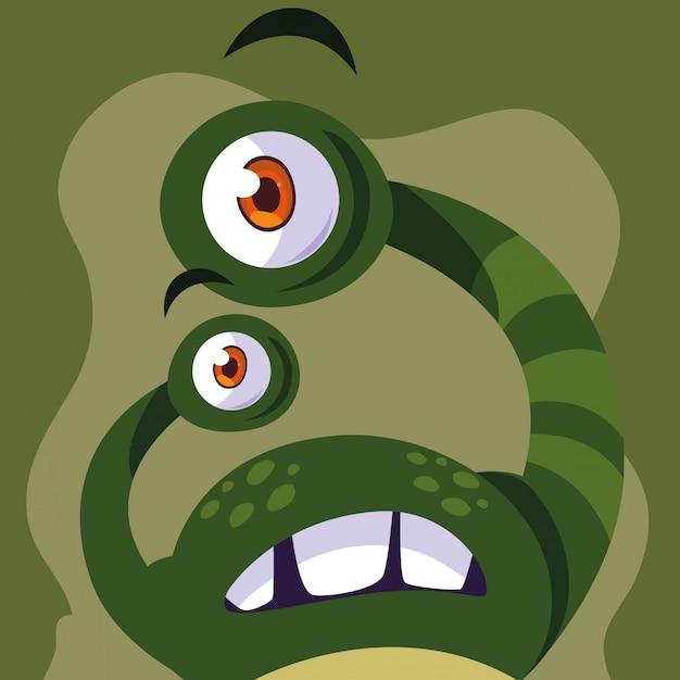 Grüne monster-cartoon Premium Vektoren