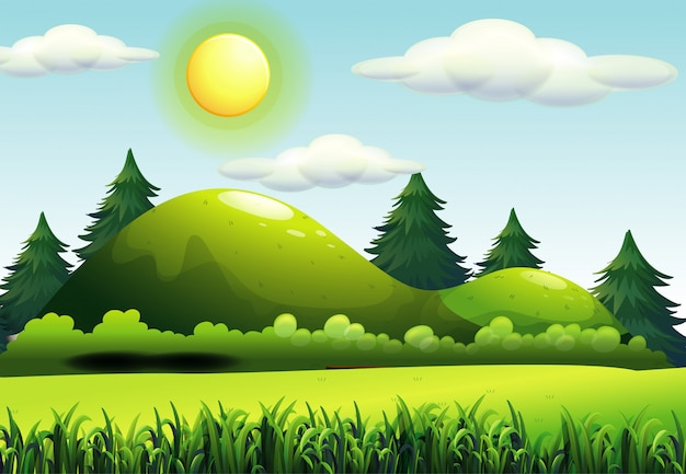 Grüne naturszene im carttoon-stil Kostenlosen Vektoren