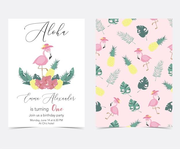 Grüne rosa einladungskarte mit palme, ananas, hibiskus, flamingo, bananenblatt und blume Premium Vektoren