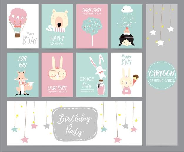 Grüne rosa pastellgrußkarte mit ballon, bären, baum, mädchen, fuchs, kaninchen und stern Premium Vektoren
