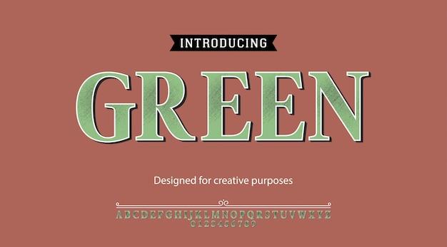 Grüne schrift. für etiketten und verschiedene schriftarten Premium Vektoren