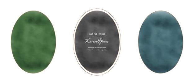 Grüne, schwarze und blaue ovale aquarellrahmen Premium Vektoren