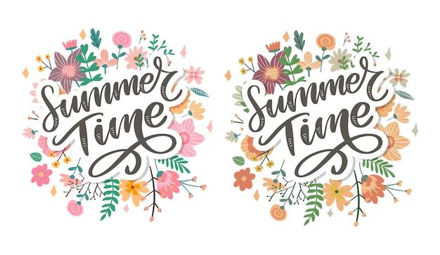 Grüne sommerzeitbuchstabenblumen im modernen stil auf buntem hintergrund. grußeinladungsvektorillustration. blumenstraußdekoration. dekorationselement. Premium Vektoren