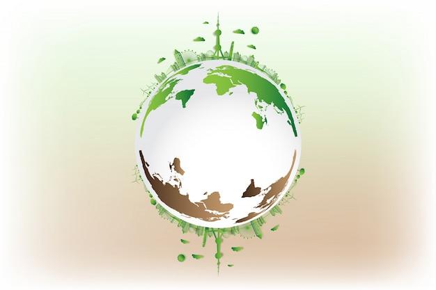 Grüne stadt rette die welt, Premium Vektoren