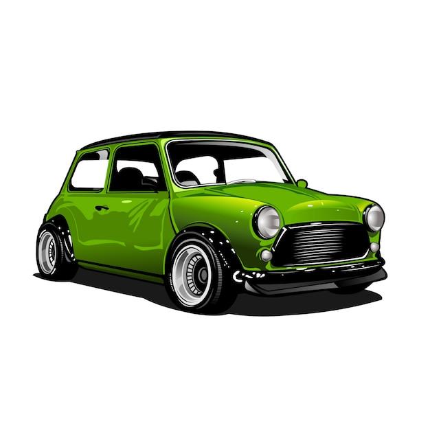 Grüne stadtautoillustration Premium Vektoren