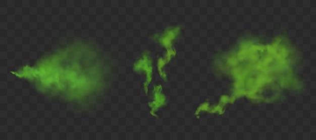 Grüne stinkende geruchswolken Kostenlosen Vektoren