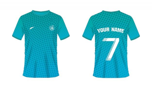 Grüne und blaue fußball- oder fußballschablone des t-shirts für teamclub an über halbtonbeschaffenheit Premium Vektoren