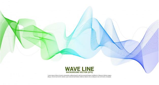 Grüne und blaue schallwellenlinie kurve auf weißem hintergrund. element für futuristischen vektor der thematechnologie Premium Vektoren