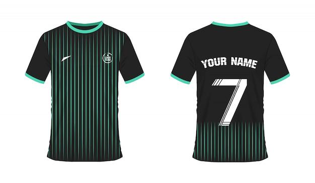 Grüne und schwarze fußball- oder fußballschablone des t-shirts für teamclub Premium Vektoren