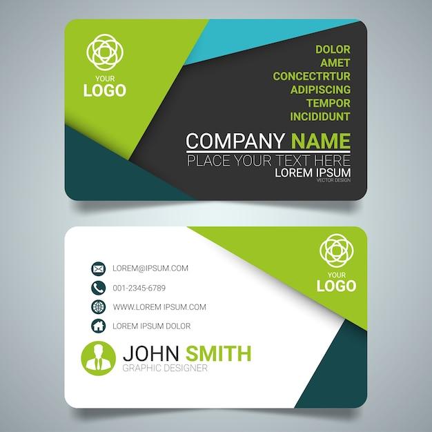 Grüne Und Schwarze Layout Visitenkarte Vorlage Premium Vektor
