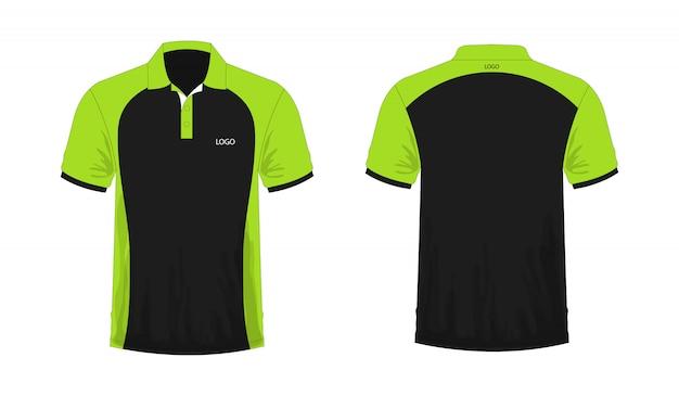 Grüne und schwarze schablone des t-shirt polos für design auf weißem hintergrund. vektorabbildung env 10. Premium Vektoren