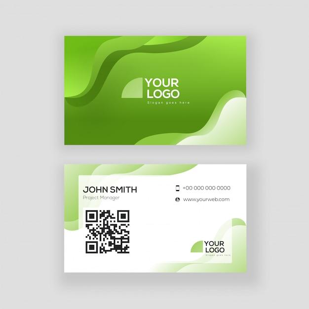 Grüne und weiße farbvisitenkarte oder visitenkartedesign in der vorderen und hinteren ansicht. Premium Vektoren