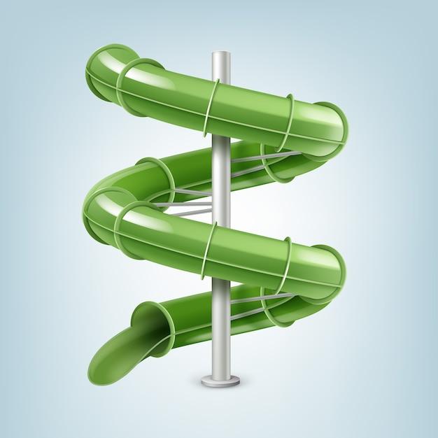 Grüne wasserrutsche oder inline-röhrenrutsche einschrauben. auf leichtem backplatz isoliert Premium Vektoren