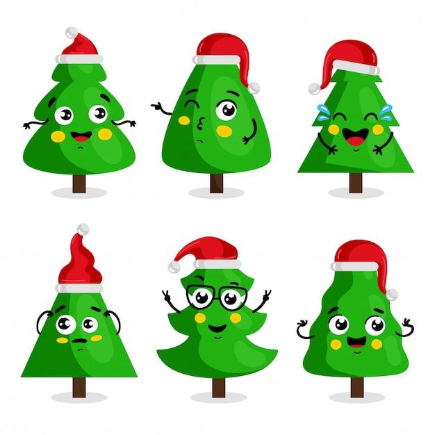 Grüne weihnachtsbaumzeichentrickfilm-figur, kawaii art Premium Vektoren