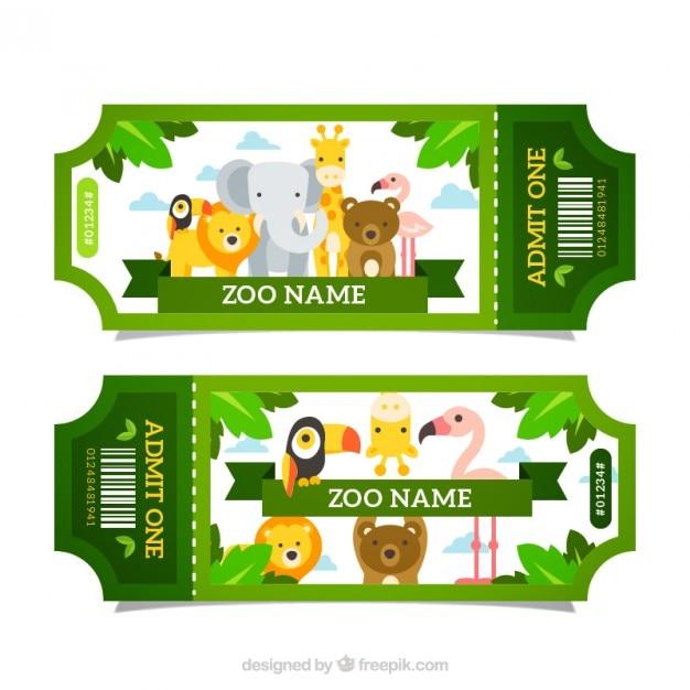 Grüne zoo-tickets mit den tieren Kostenlosen Vektoren
