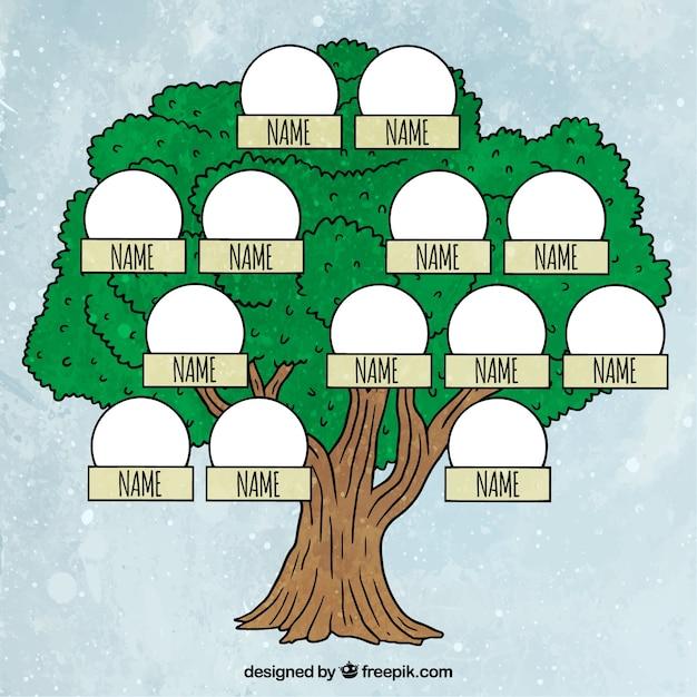 Grünen baum mit familienmitgliedern Kostenlosen Vektoren