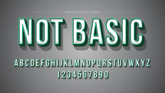 Grüner anschlag-mutiger schatten-typografie-entwurf Premium Vektoren