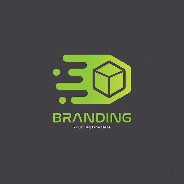Grüner beweglicher schneller kasten mit bewegung logo concept Premium Vektoren