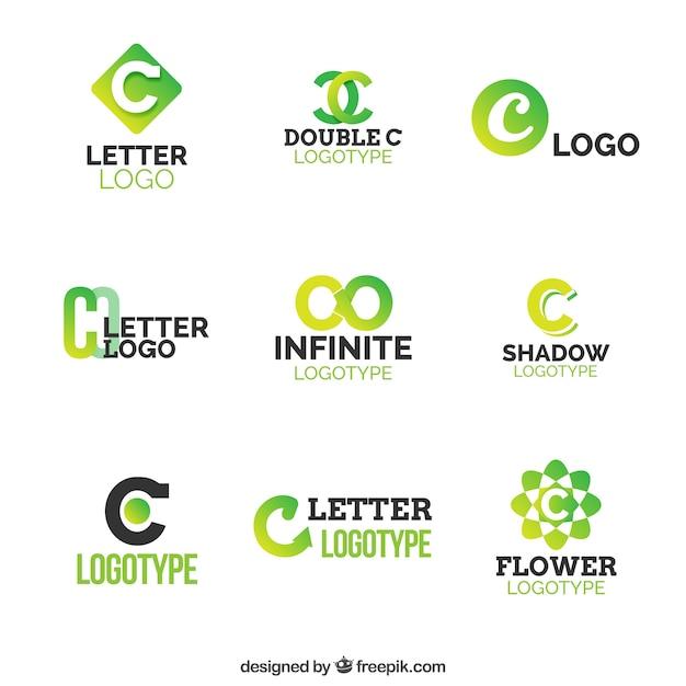 Grüner buchstabe c logo colection Kostenlosen Vektoren