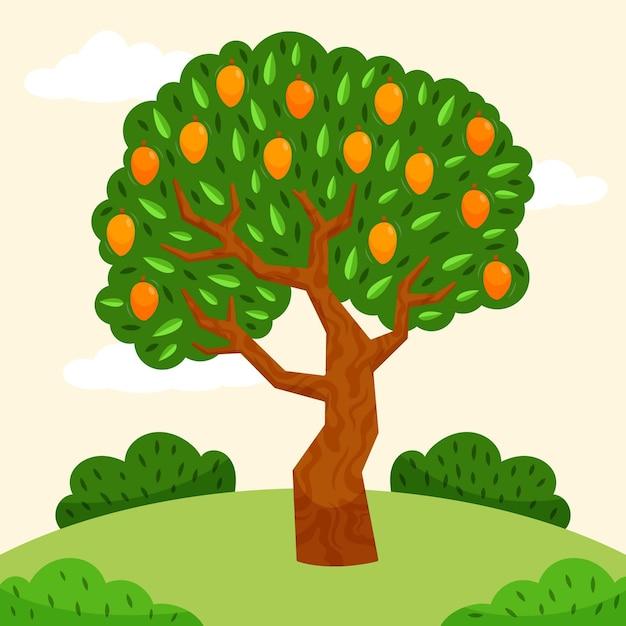 Grüner design grüner mangobaum Kostenlosen Vektoren