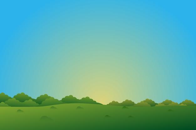 Grüner dschungelhintergrund mit landschaft des blauen himmels Premium Vektoren