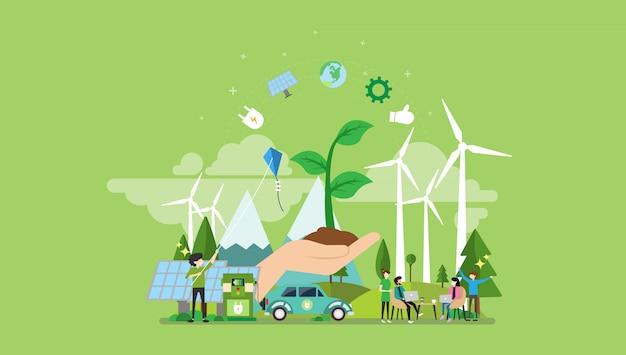 Grüner energie-kleiner leute-charakter Premium Vektoren