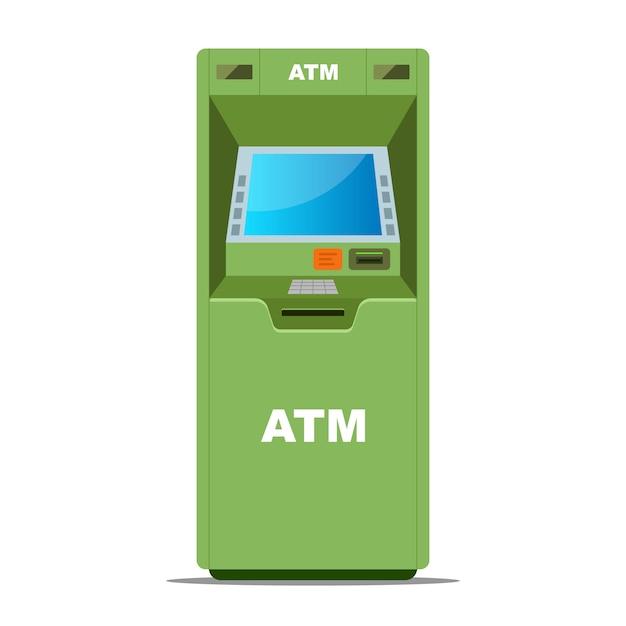 Grüner geldautomat für geldabhebungen Premium Vektoren