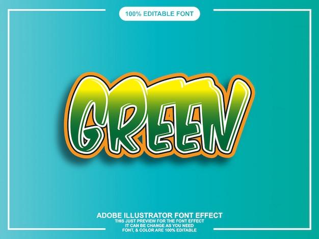 Grüner gerundeter mutiger grafischer art einfacher editable schriftart Premium Vektoren
