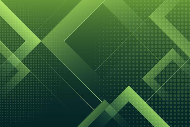 Grüner hintergrund mit halbton-effekt und quadraten Kostenlosen Vektoren