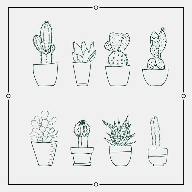Grüner kaktus in den illustrationen eines topfvektors. Premium Vektoren