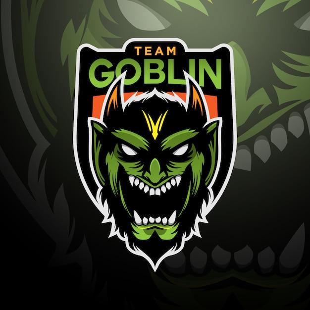 Grüner koboldlogo-spielesport Premium Vektoren