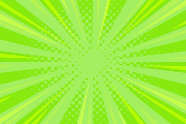 Grüner komischer hintergrund mit zoom-linien und halbtonbild Kostenlosen Vektoren