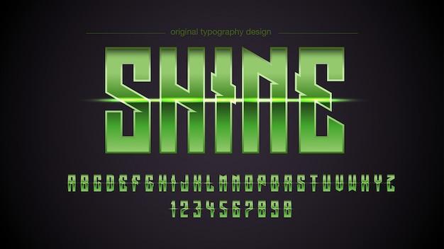 Grüner metallischer licht-typografie-entwurf Premium Vektoren